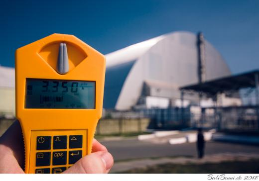 Strahlung direkt am Block 4 des Kernkraftwerkes Chernobyl, 3,350 µSv/h